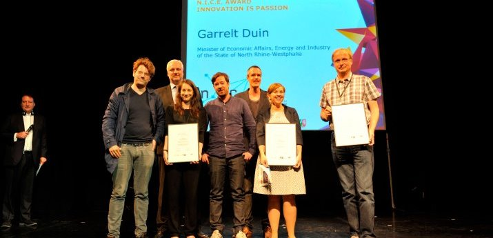 Garrelt Duin (third from the left), Minister for Economic Affairs, Energy and Industry of the State of North Rhine-Westphalia and the winners of the NICE Award 2014.